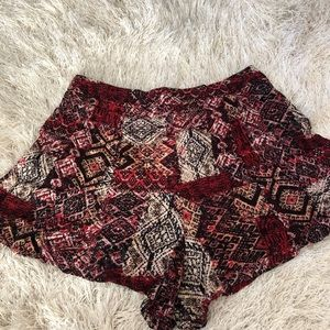 Red Printed Shorts